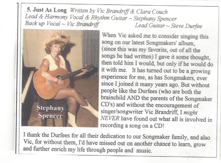 My Songmaker CD Blurb